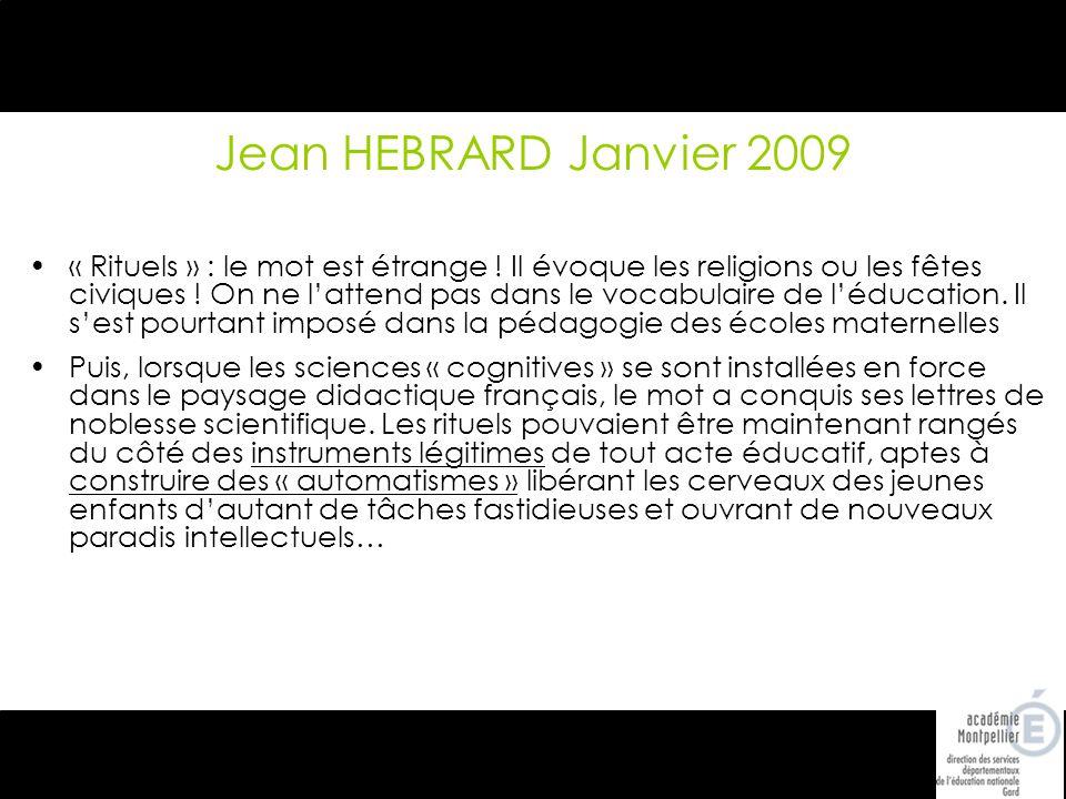 Jean HEBRARD Janvier 2009