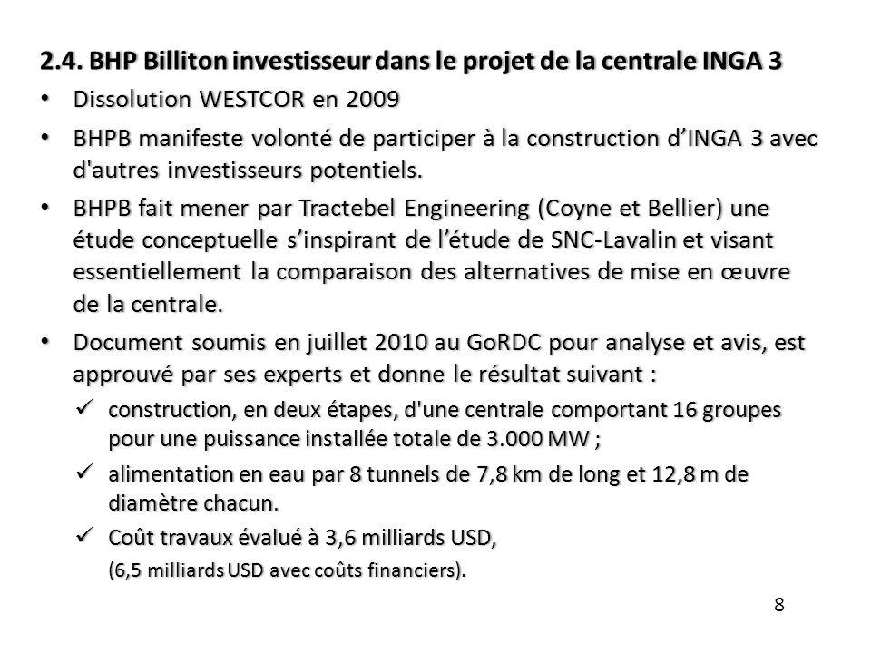 2.4. BHP Billiton investisseur dans le projet de la centrale INGA 3
