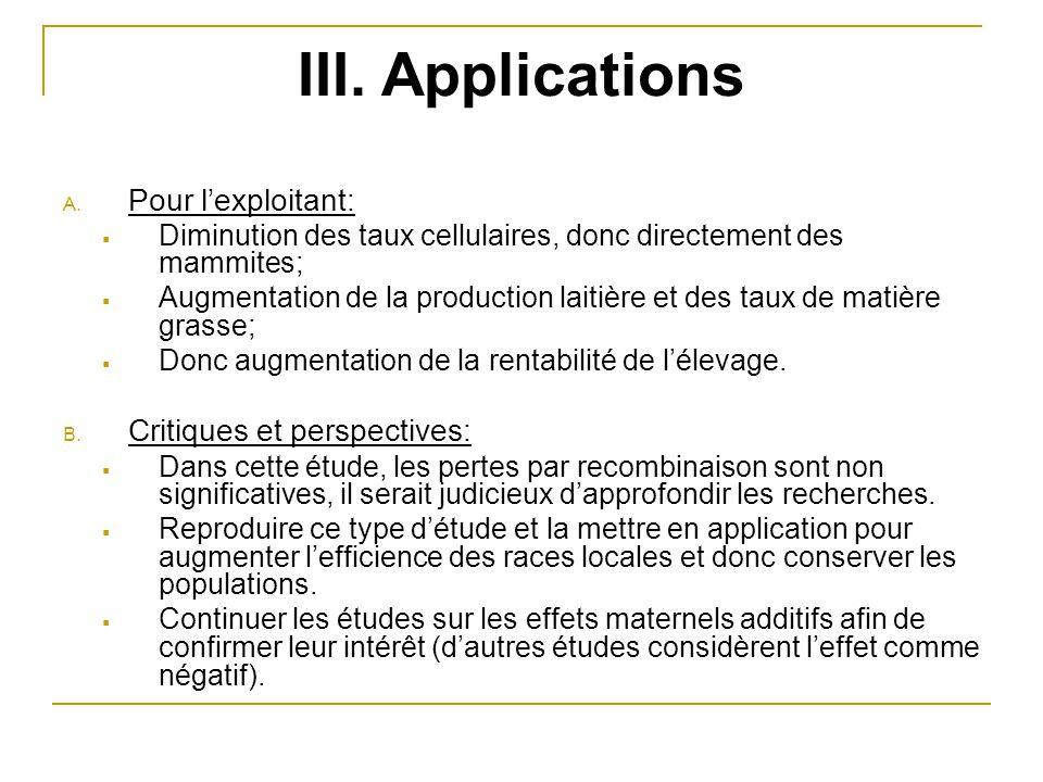 III. Applications Pour l'exploitant: Critiques et perspectives: