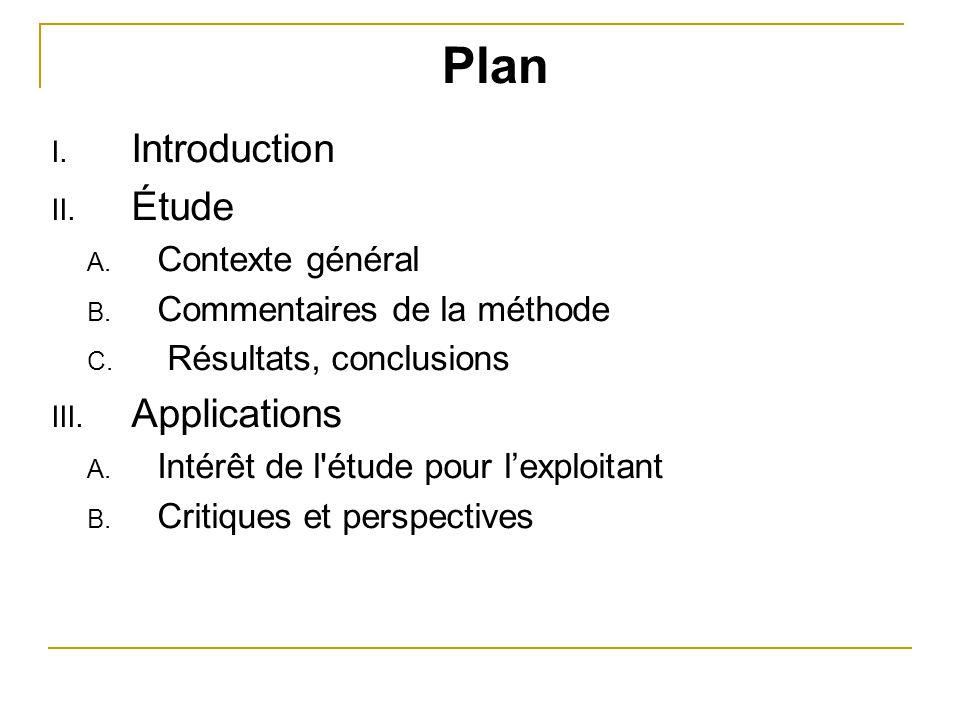 Plan Introduction Étude Applications Contexte général