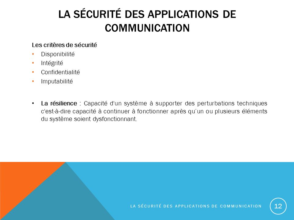 la sécurité des applications de communication