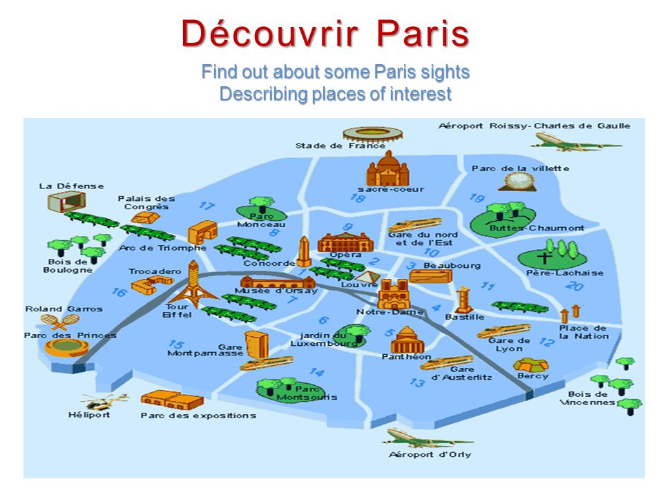Find out about some Paris sights Describing places of interest