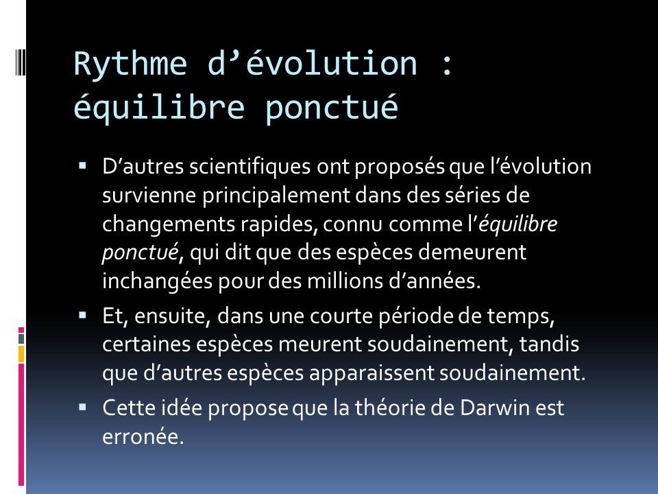 Rythme d'évolution : équilibre ponctué