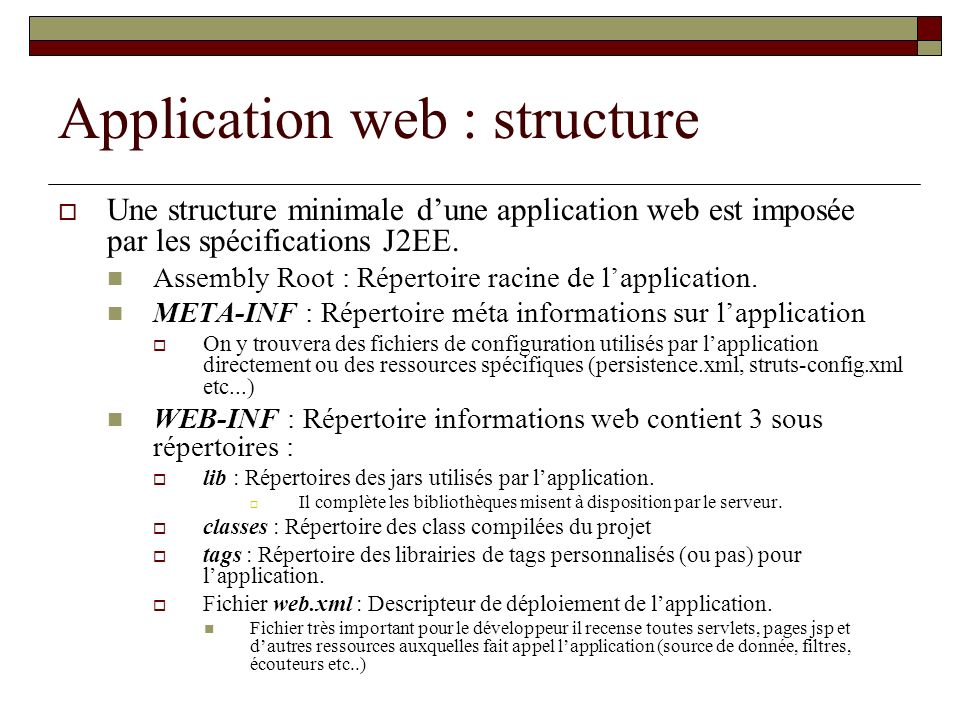 Application web : structure