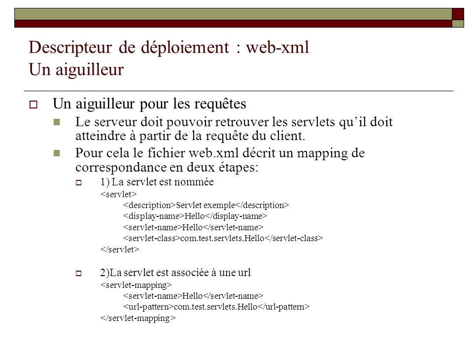 Descripteur de déploiement : web-xml Un aiguilleur