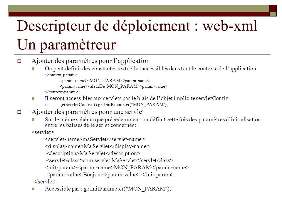 Descripteur de déploiement : web-xml Un paramètreur