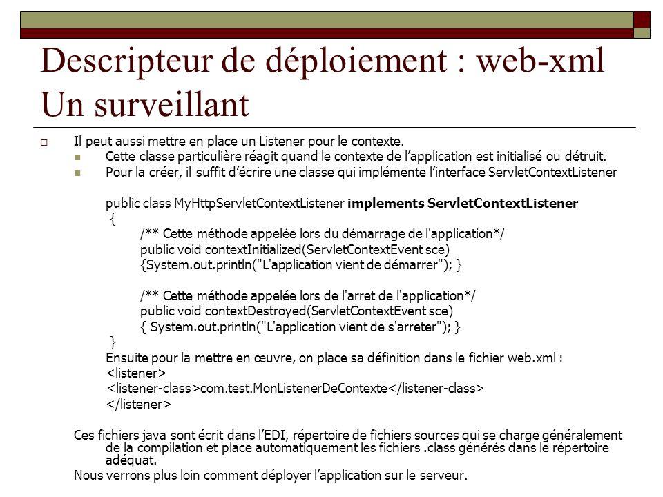 Descripteur de déploiement : web-xml Un surveillant
