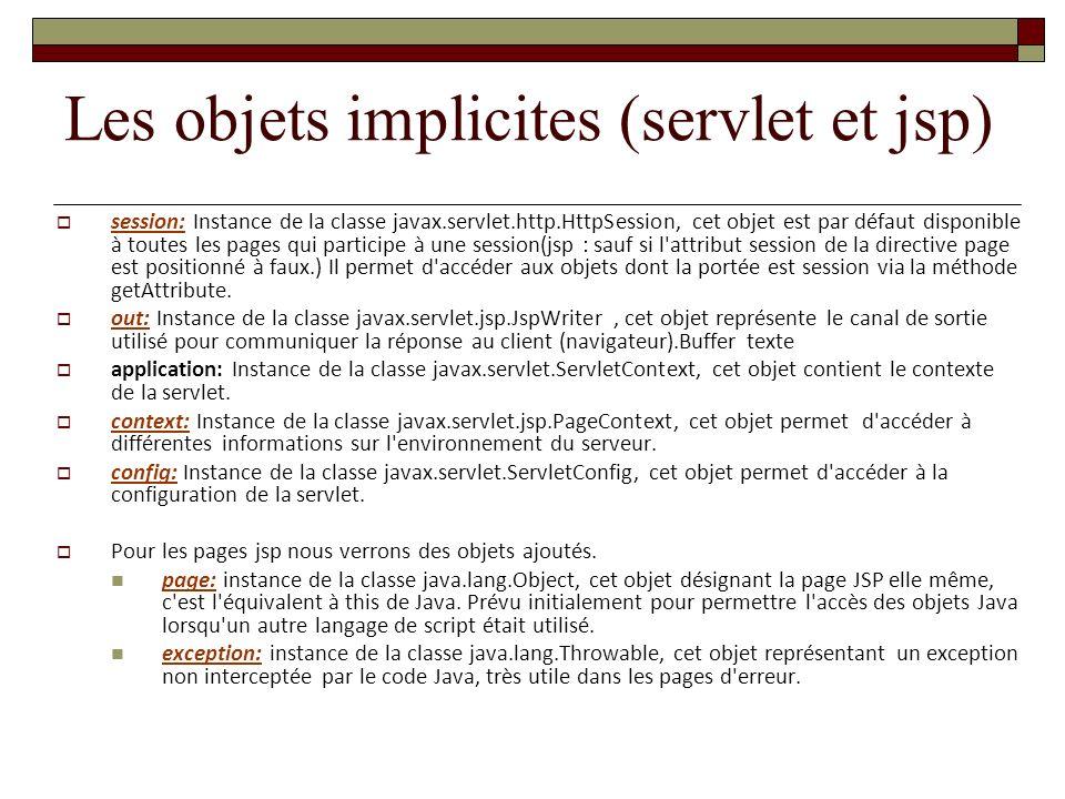 Les objets implicites (servlet et jsp)