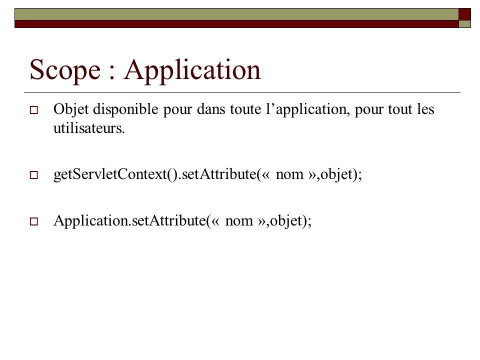 Scope : ApplicationObjet disponible pour dans toute l'application, pour tout les utilisateurs. getServletContext().setAttribute(« nom »,objet);