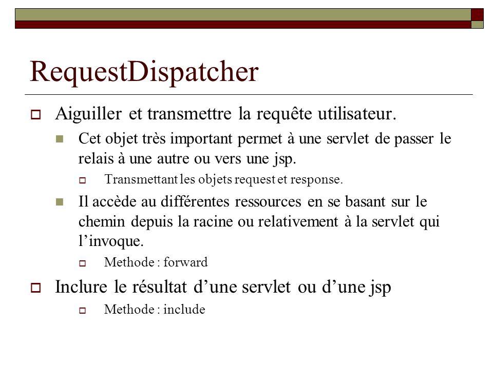 RequestDispatcher Aiguiller et transmettre la requête utilisateur.
