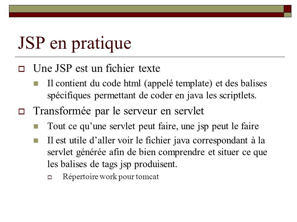 JSP en pratique Une JSP est un fichier texte