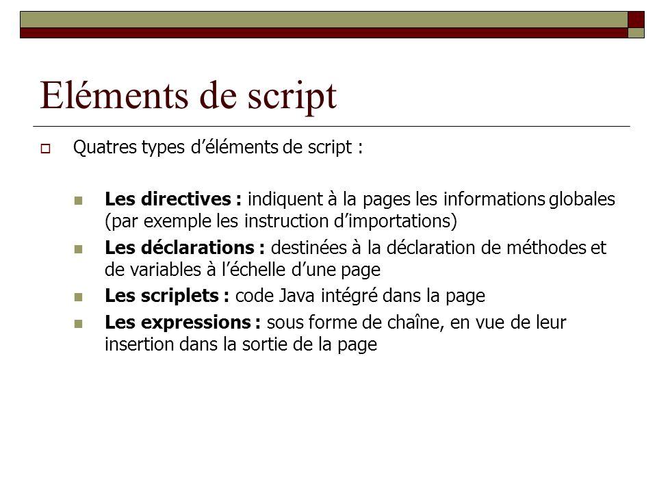 Eléments de script Quatres types d'éléments de script :