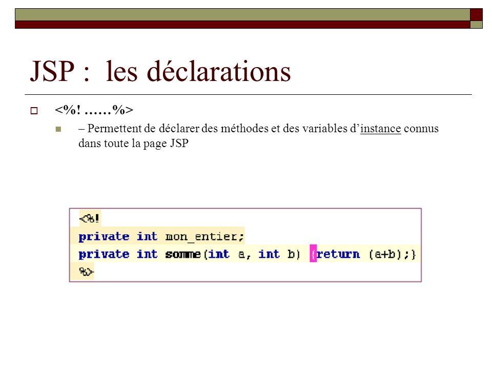 JSP : les déclarations <%! ……%>