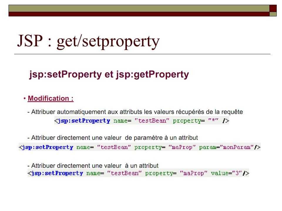 JSP : get/setproperty