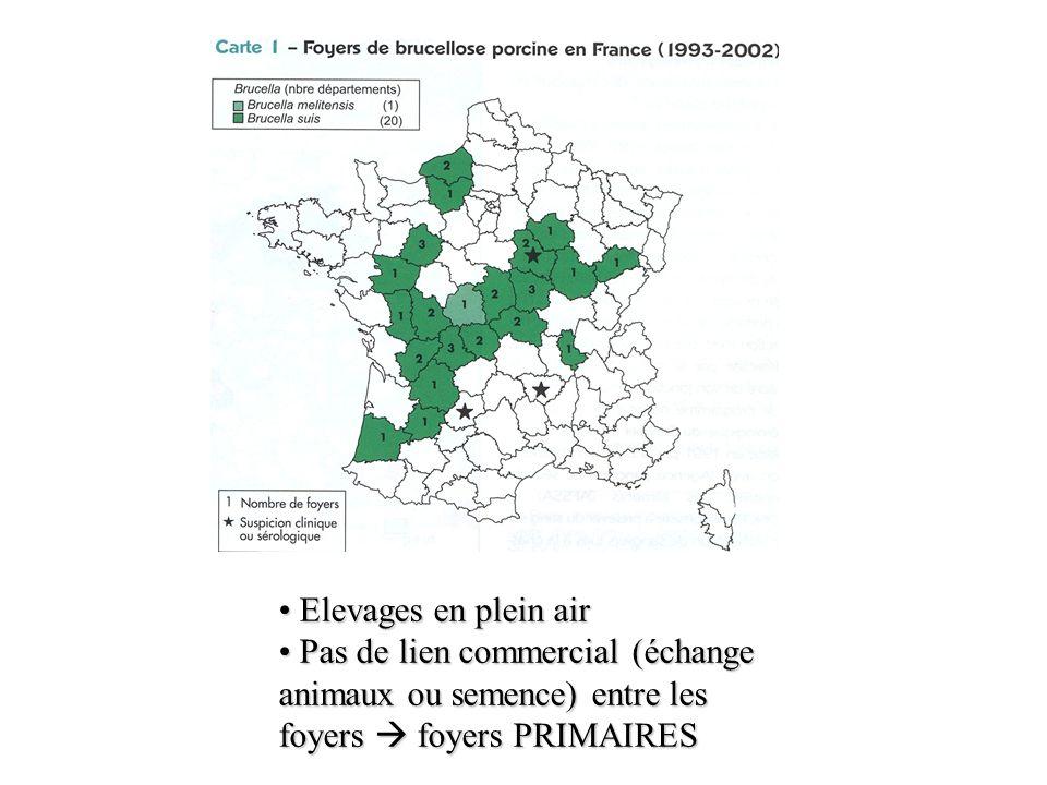 Elevages en plein air Pas de lien commercial (échange animaux ou semence) entre les foyers  foyers PRIMAIRES.