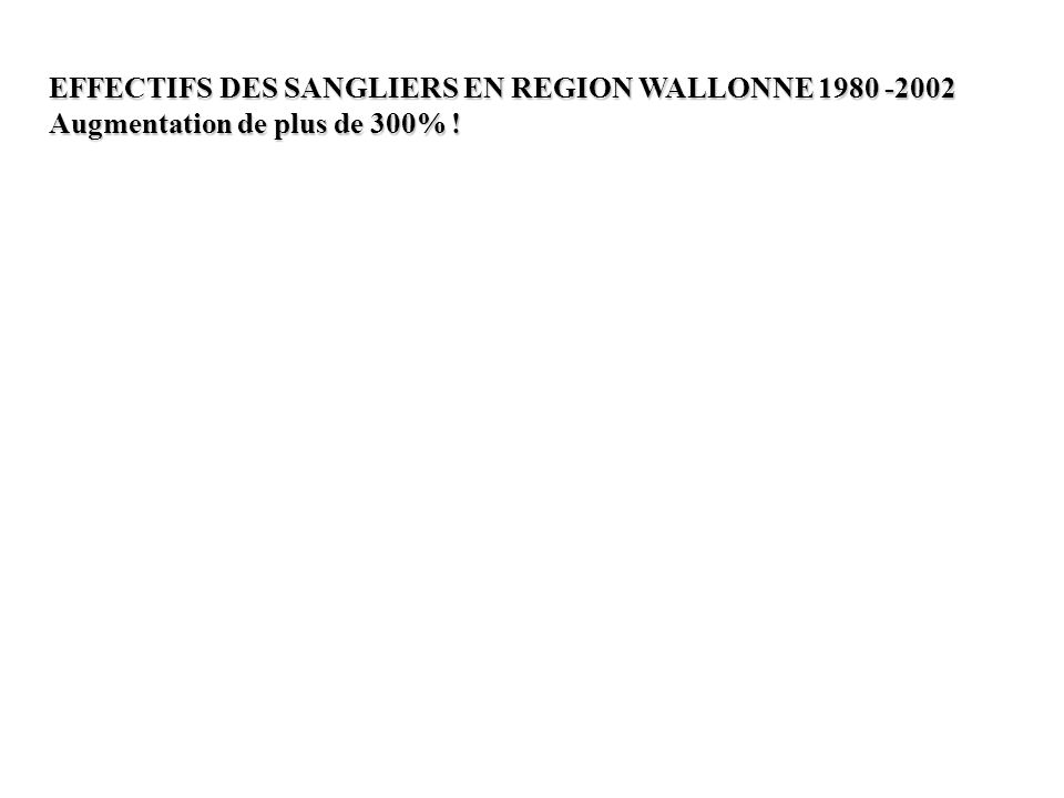EFFECTIFS DES SANGLIERS EN REGION WALLONNE 1980 -2002 Augmentation de plus de 300% !