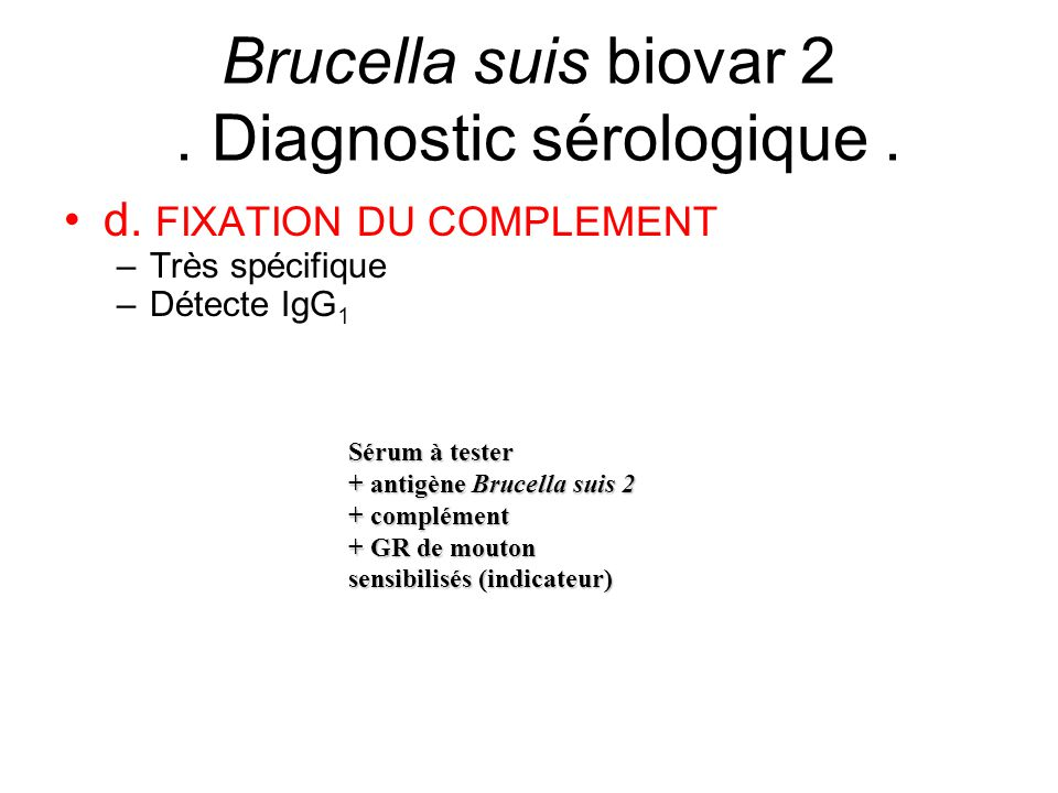 Brucella suis biovar 2 . Diagnostic sérologique .