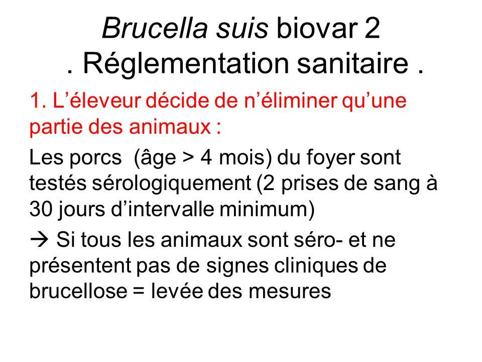 Brucella suis biovar 2 . Réglementation sanitaire .