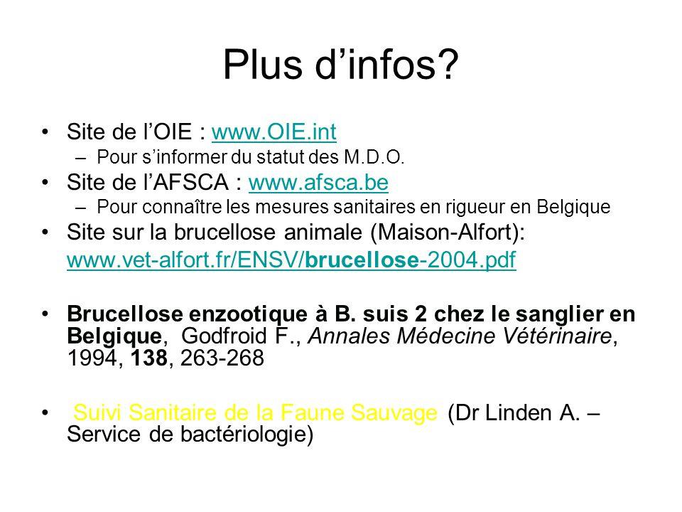 Plus d'infos Site de l'OIE : www.OIE.int