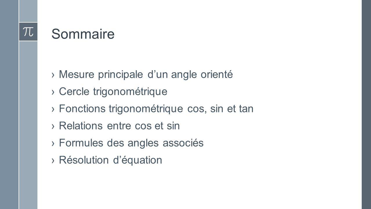 Sommaire Mesure principale d'un angle orienté Cercle trigonométrique