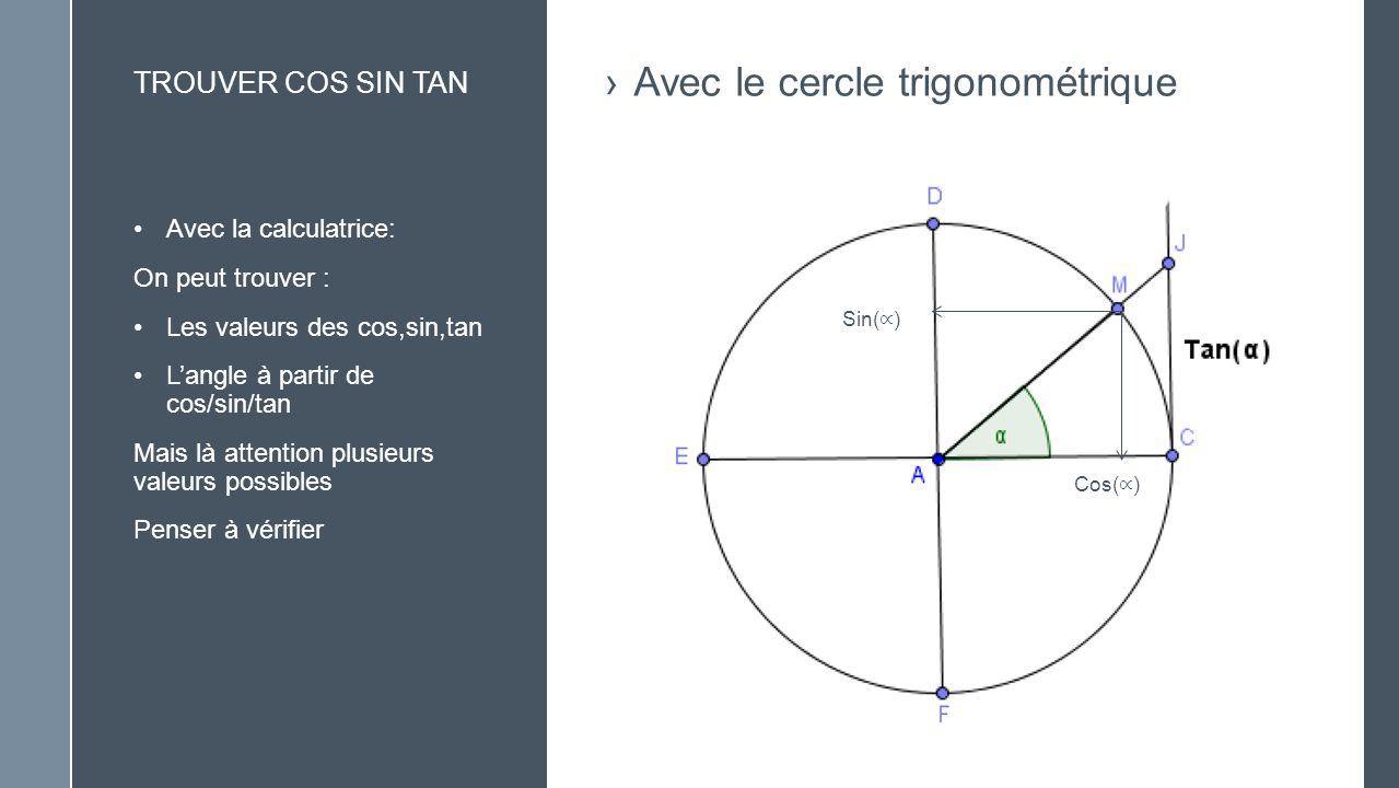Avec le cercle trigonométrique