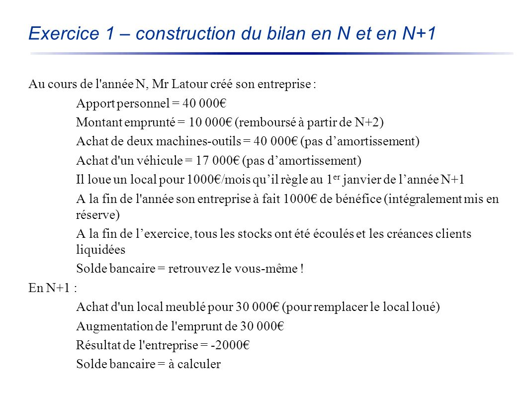 Exercice 1 – construction du bilan en N et en N+1