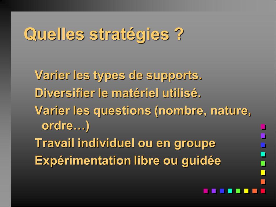Quelles stratégies Varier les types de supports.