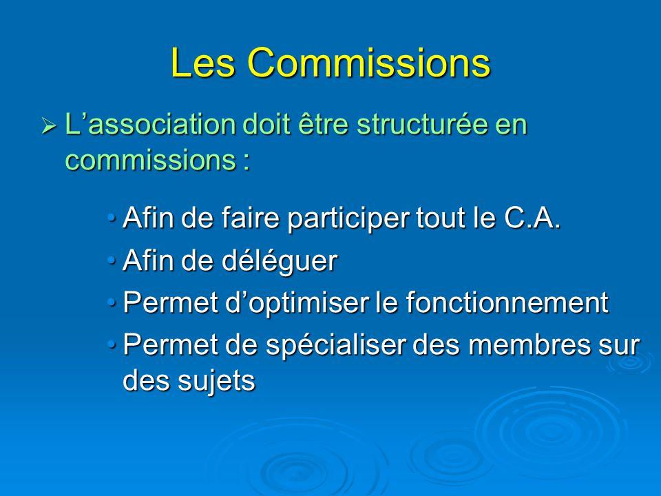 Les Commissions L'association doit être structurée en commissions :
