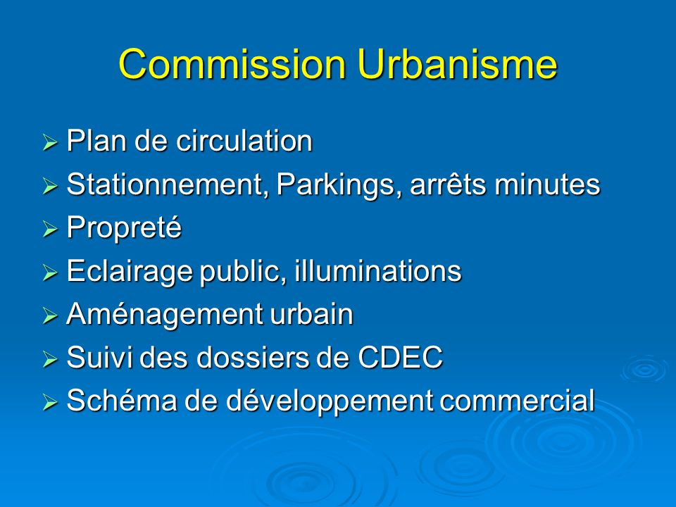 Commission Urbanisme Plan de circulation