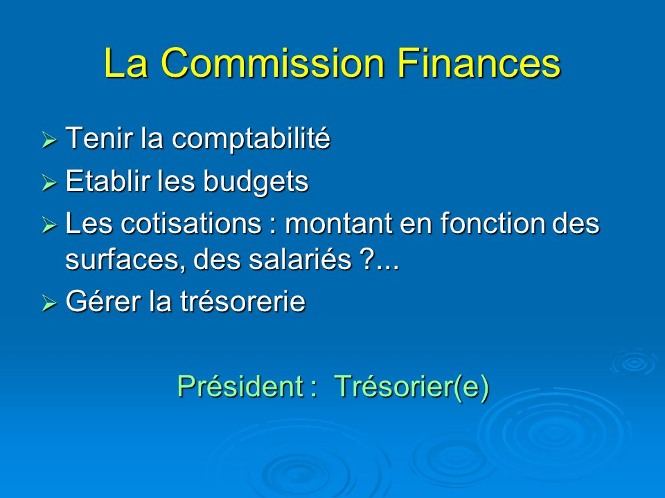 La Commission Finances