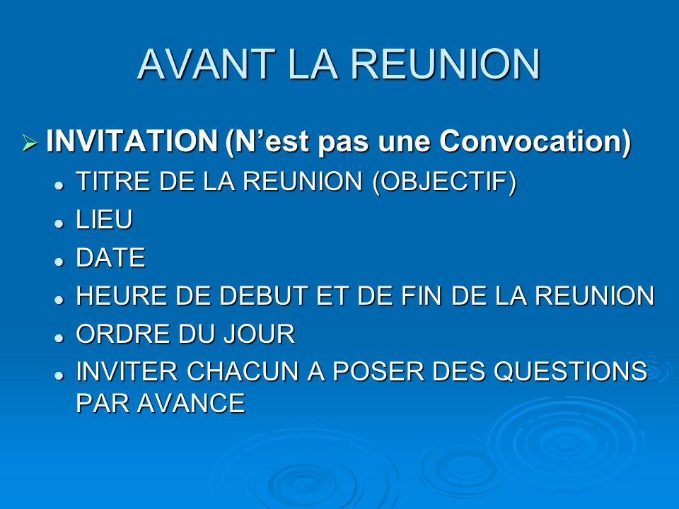 AVANT LA REUNION INVITATION (N'est pas une Convocation)