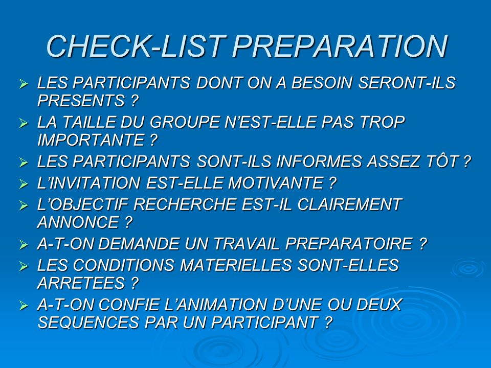 CHECK-LIST PREPARATION