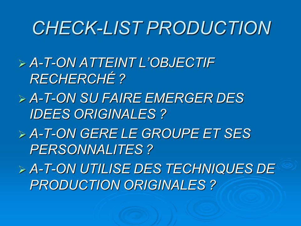 CHECK-LIST PRODUCTION