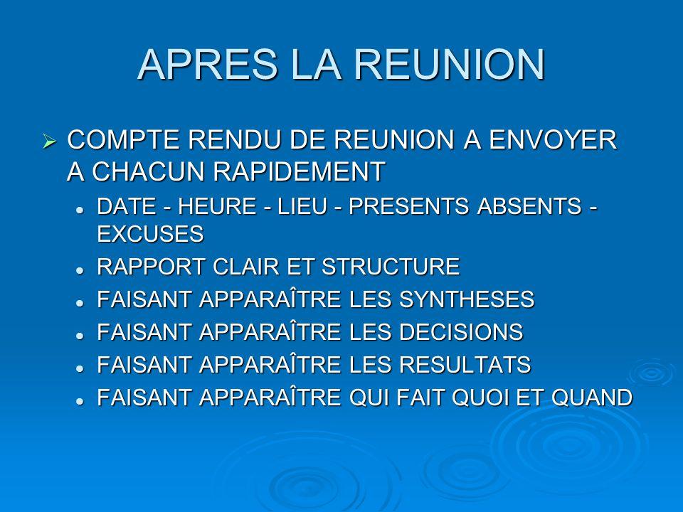 APRES LA REUNION COMPTE RENDU DE REUNION A ENVOYER A CHACUN RAPIDEMENT