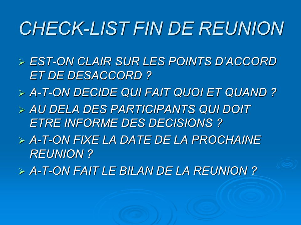 CHECK-LIST FIN DE REUNION