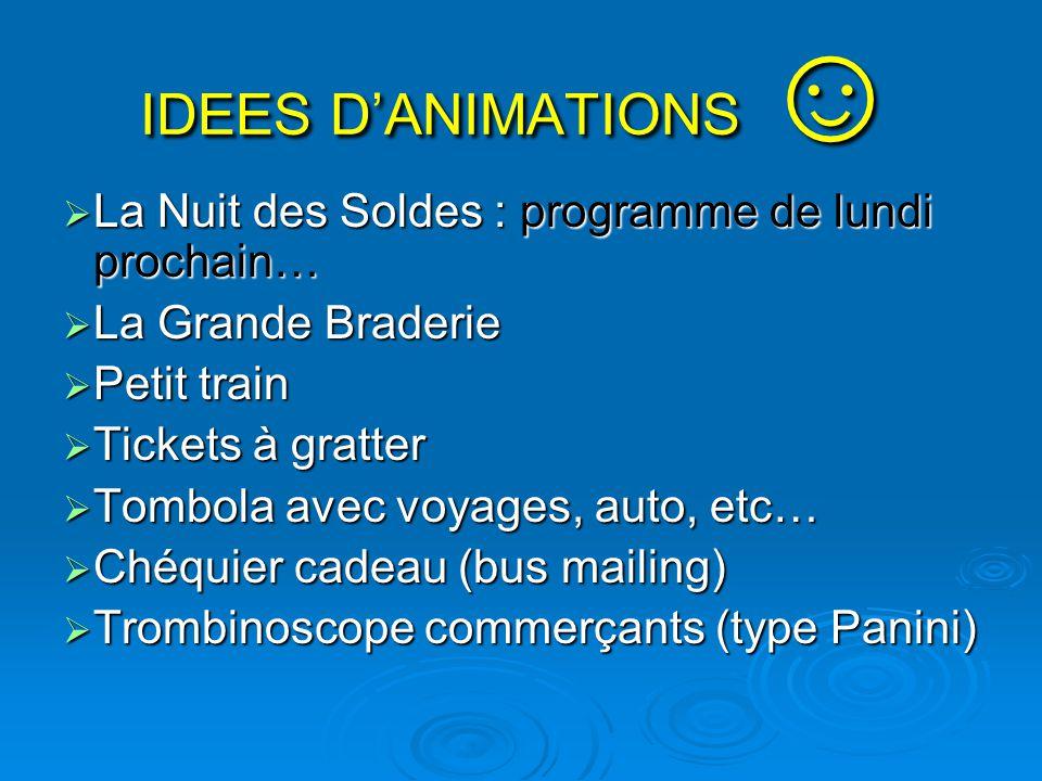 IDEES D'ANIMATIONS ☺ La Nuit des Soldes : programme de lundi prochain…
