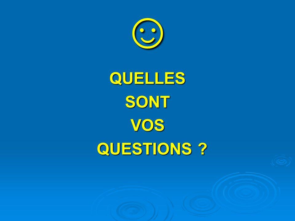 ☺ QUELLES SONT VOS QUESTIONS
