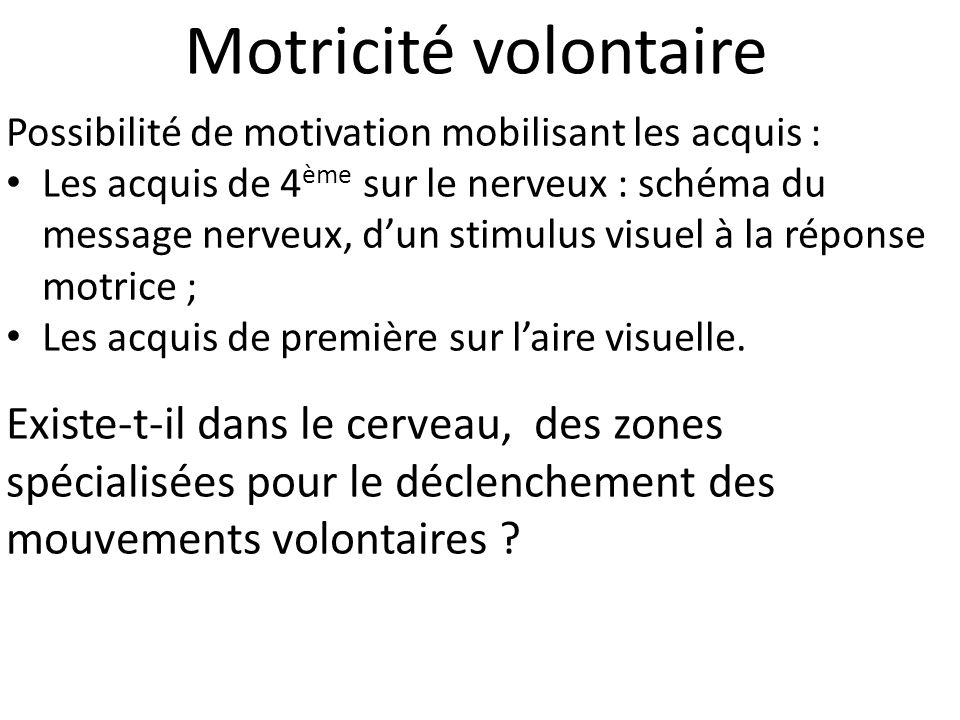 Motricité volontaire Possibilité de motivation mobilisant les acquis :