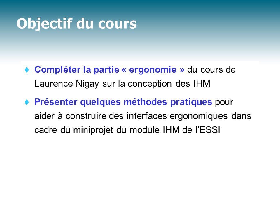 Objectif du cours Compléter la partie « ergonomie » du cours de Laurence Nigay sur la conception des IHM.