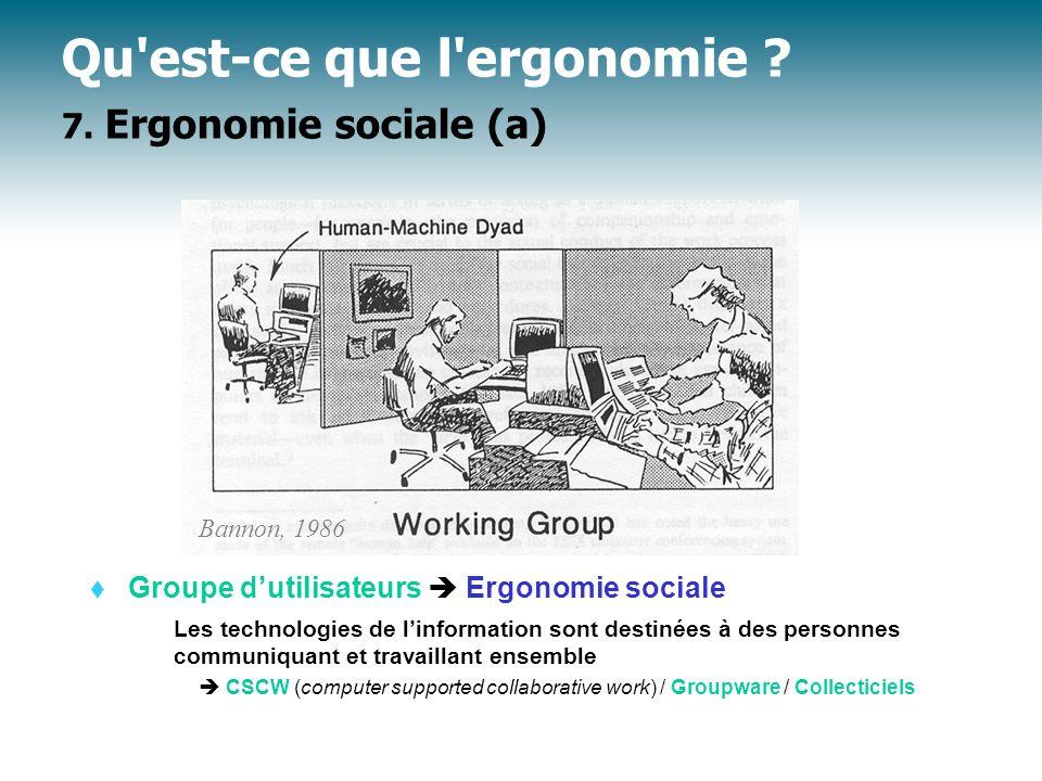 Qu est-ce que l ergonomie 7. Ergonomie sociale (a)