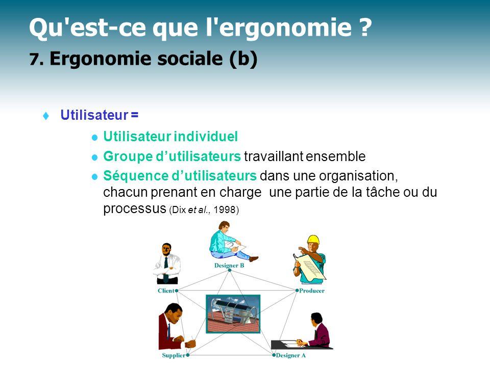 Qu est-ce que l ergonomie 7. Ergonomie sociale (b)
