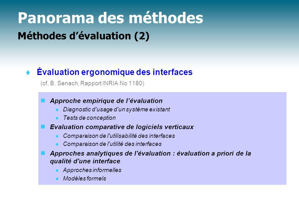 Panorama des méthodes Méthodes d'évaluation (2)