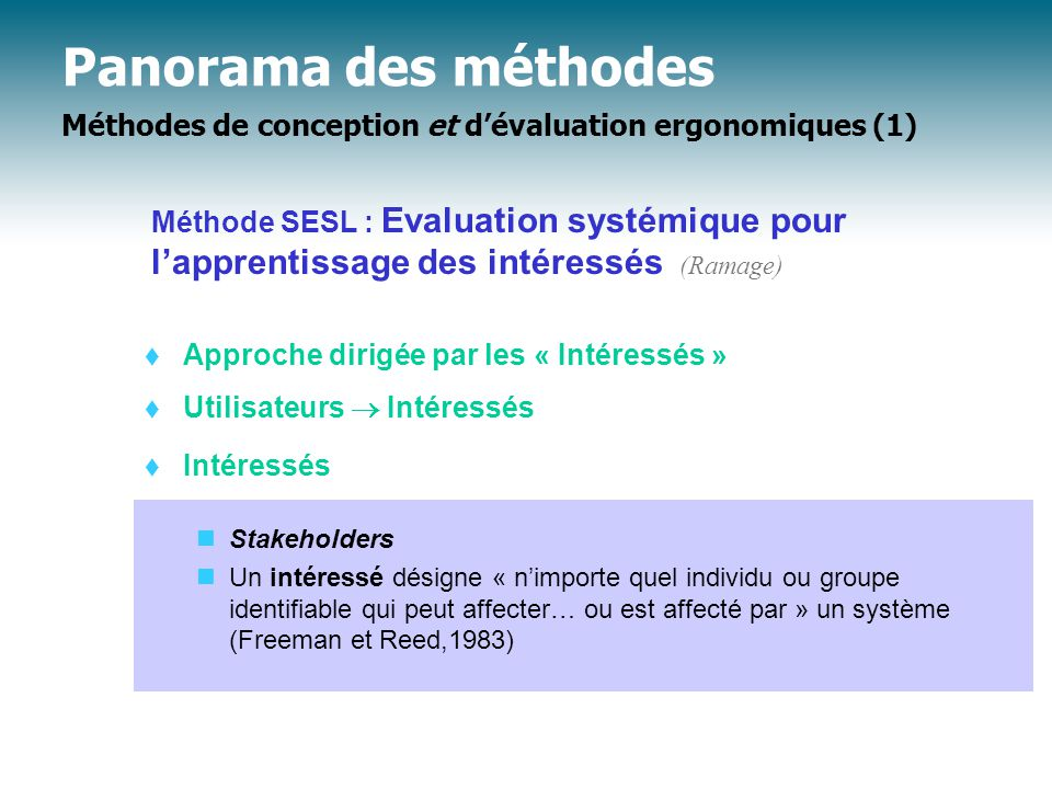 Panorama des méthodes Méthodes de conception et d'évaluation ergonomiques (1)