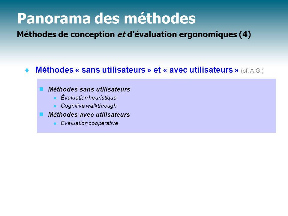 Panorama des méthodes Méthodes de conception et d'évaluation ergonomiques (4)