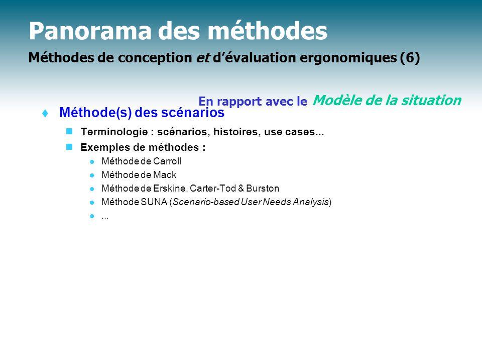 Panorama des méthodes Méthodes de conception et d'évaluation ergonomiques (6)