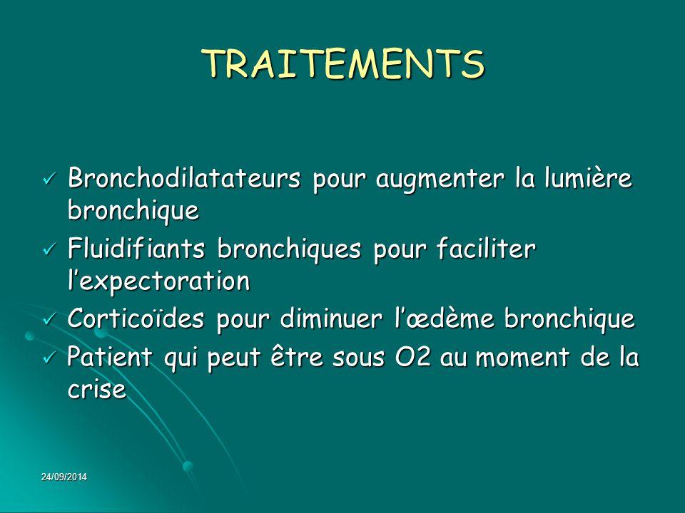 TRAITEMENTS Bronchodilatateurs pour augmenter la lumière bronchique