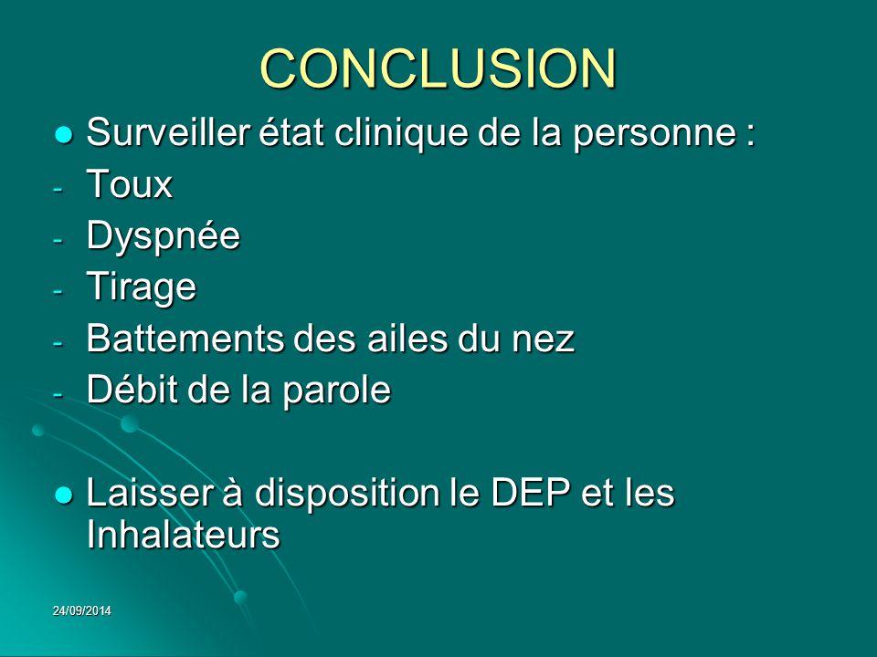 CONCLUSION Surveiller état clinique de la personne : Toux Dyspnée