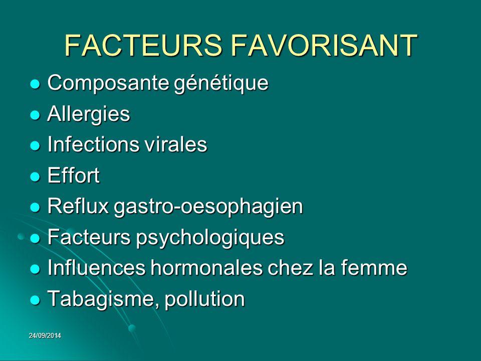 FACTEURS FAVORISANT Composante génétique Allergies Infections virales