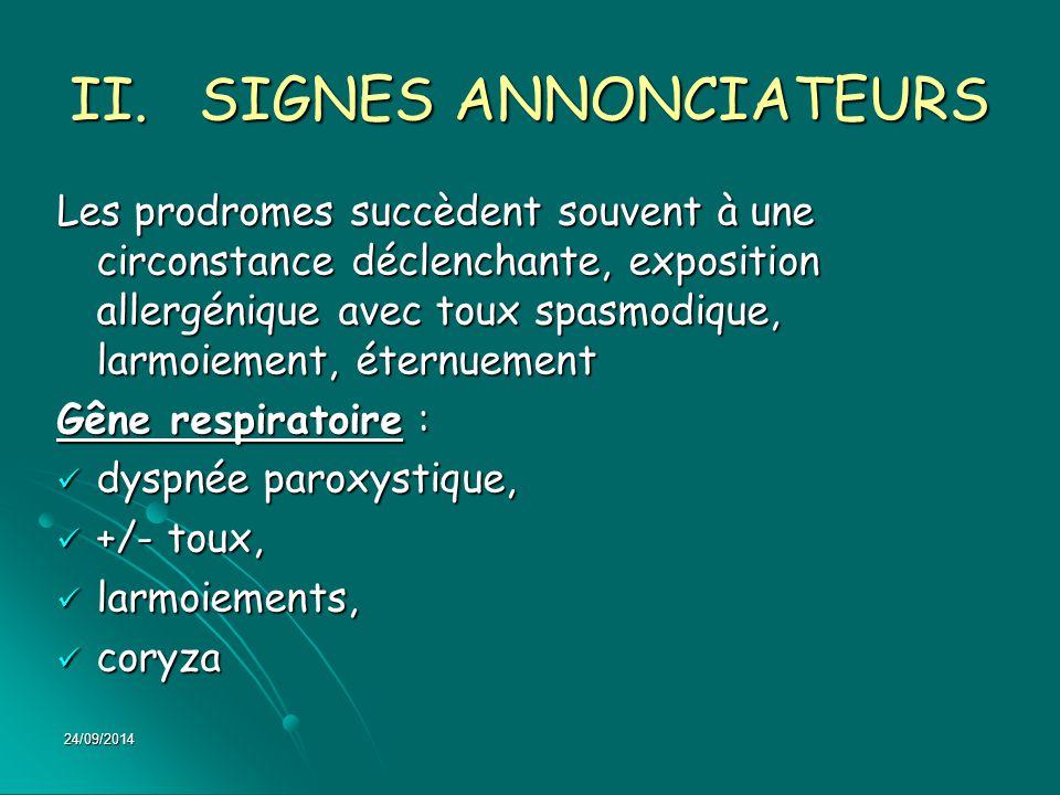 SIGNES ANNONCIATEURS