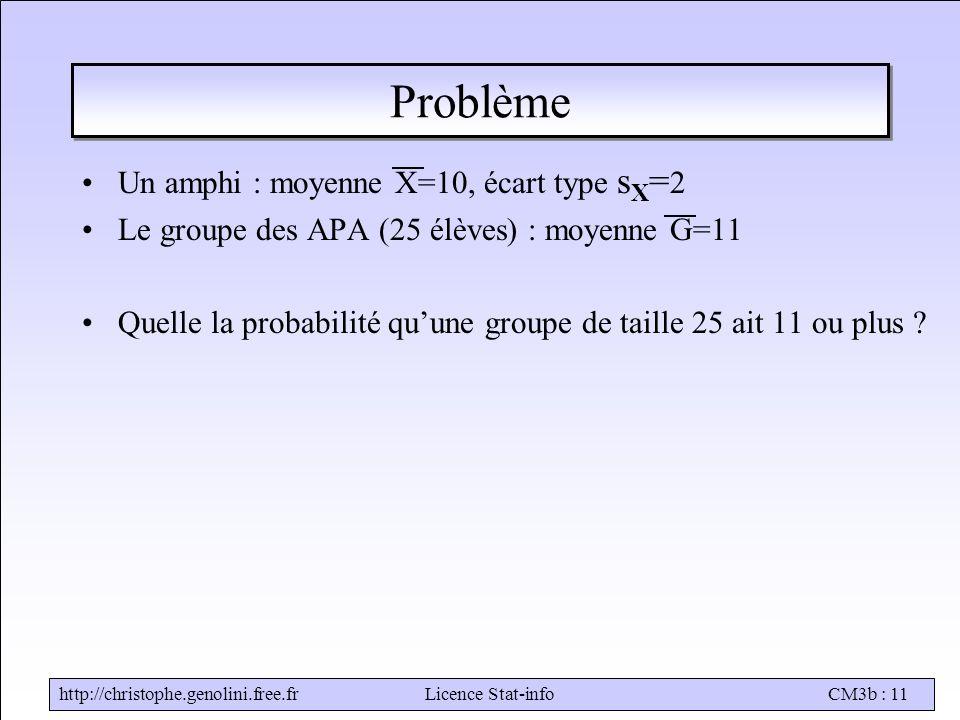 Problème Un amphi : moyenne X=10, écart type sX=2